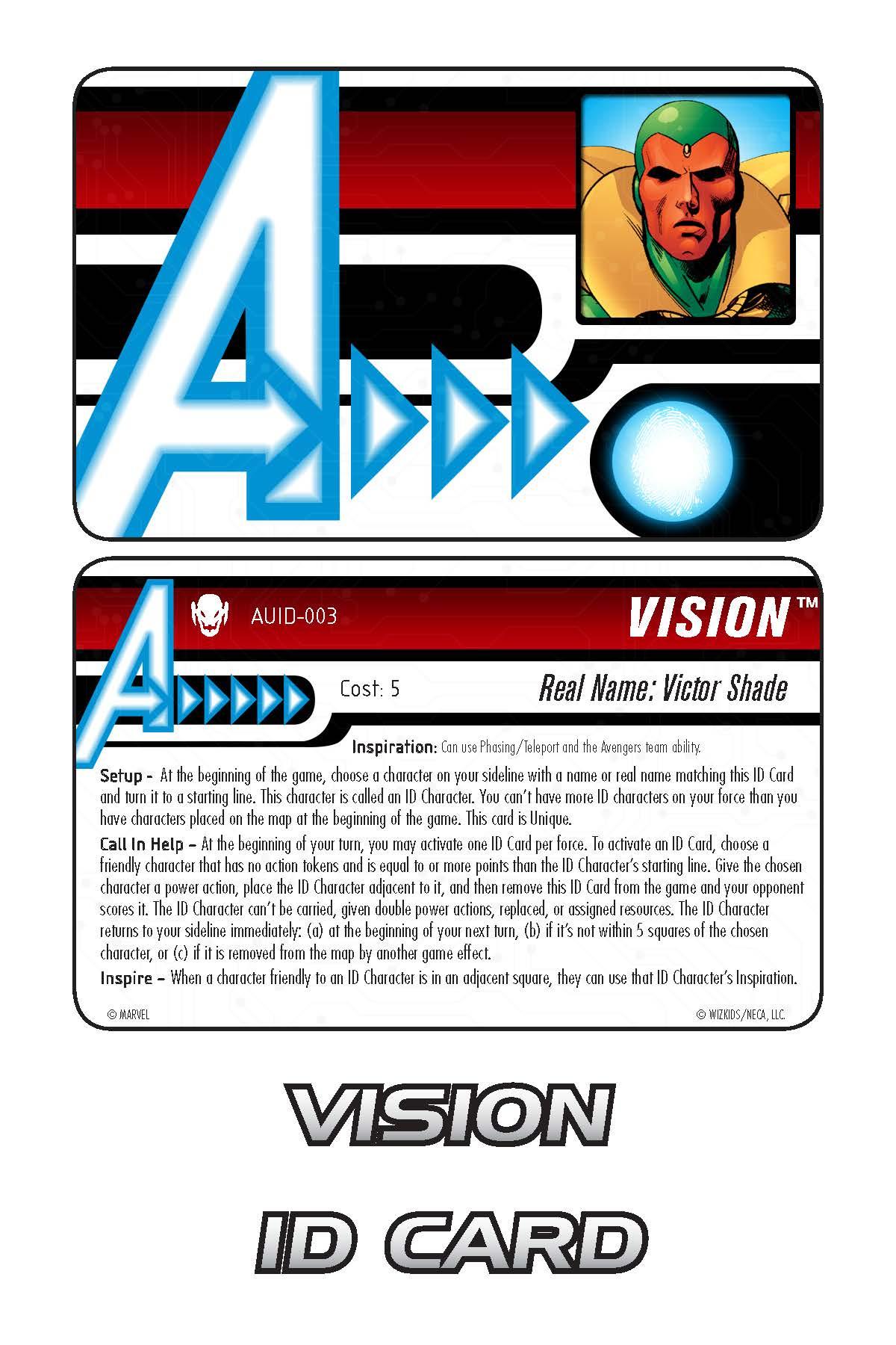 Marvel HeroClix: Avengers ID Card- Vision