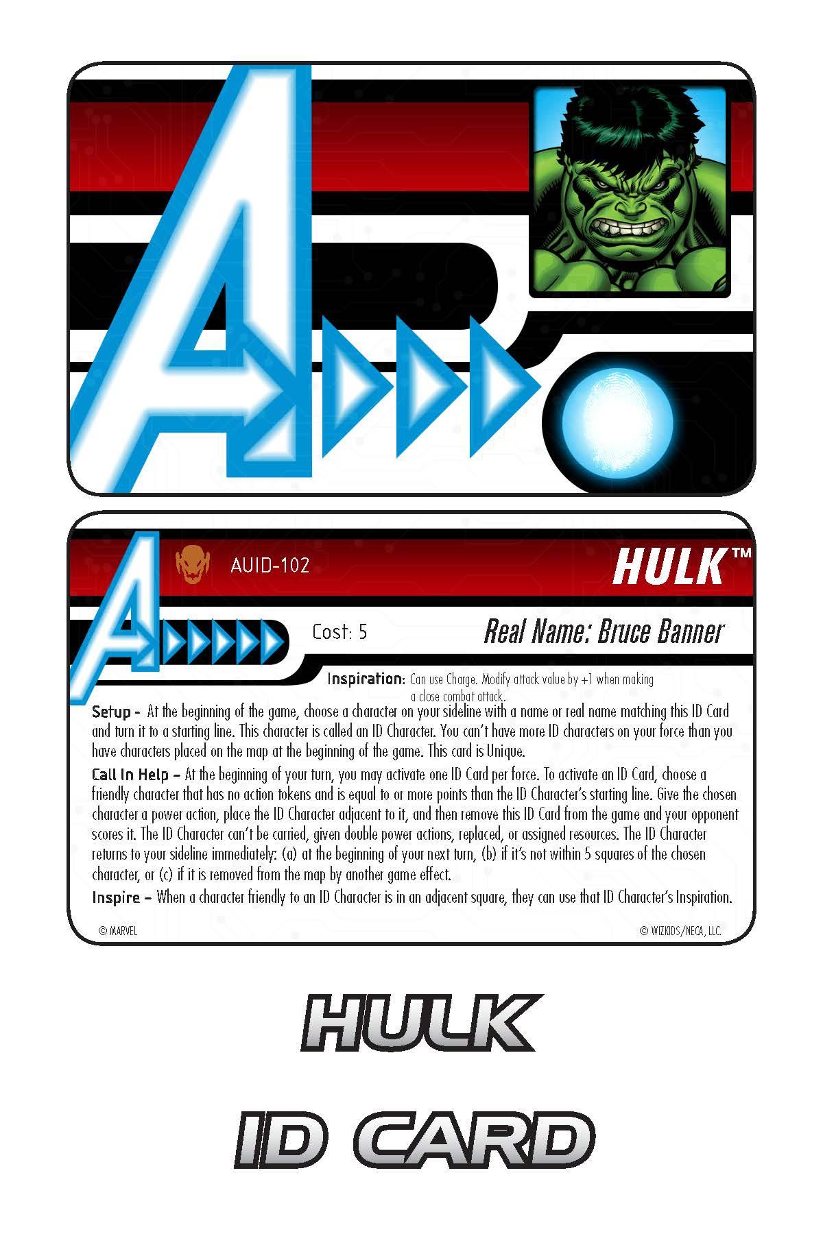 Marvel HeroClix: Avengers ID Card- Hulk
