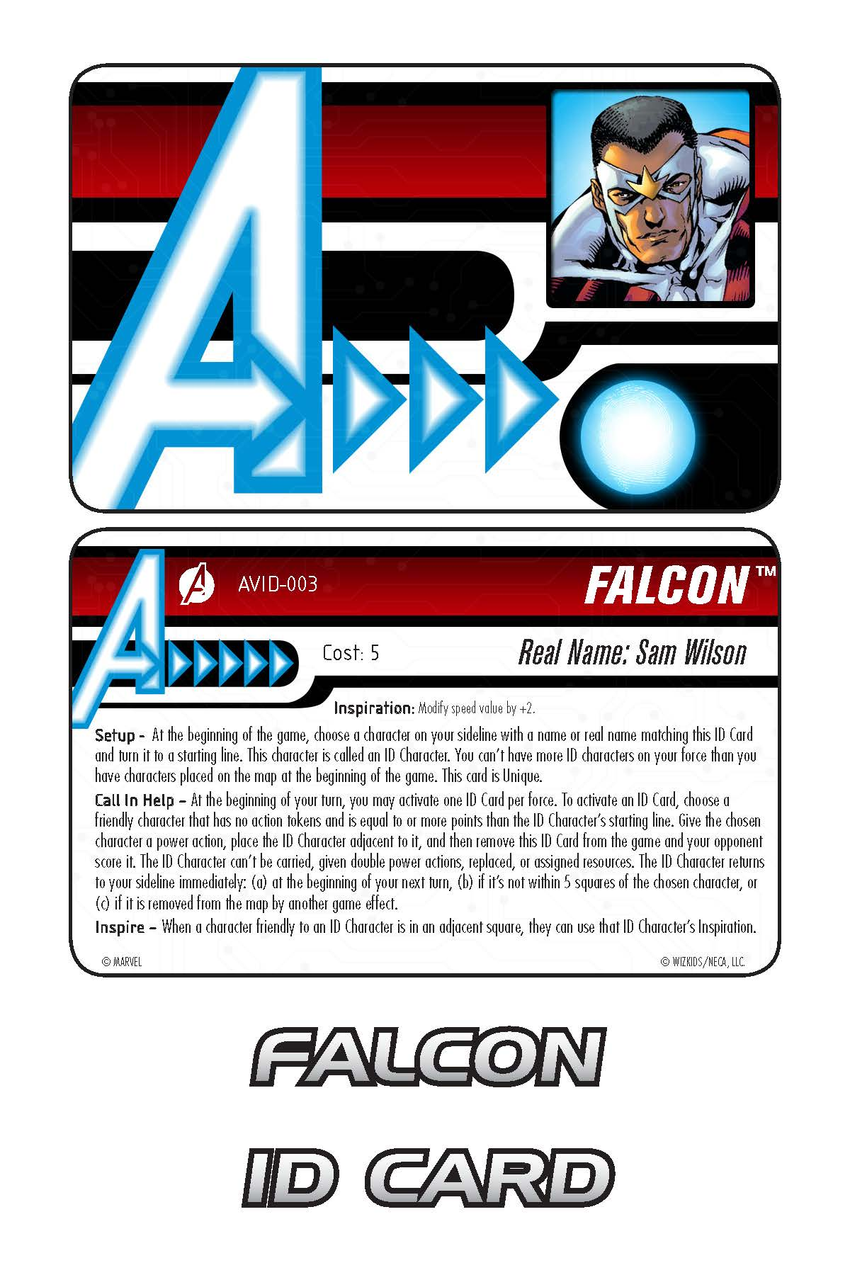 Marvel HeroClix: Avengers ID Card- Falcon