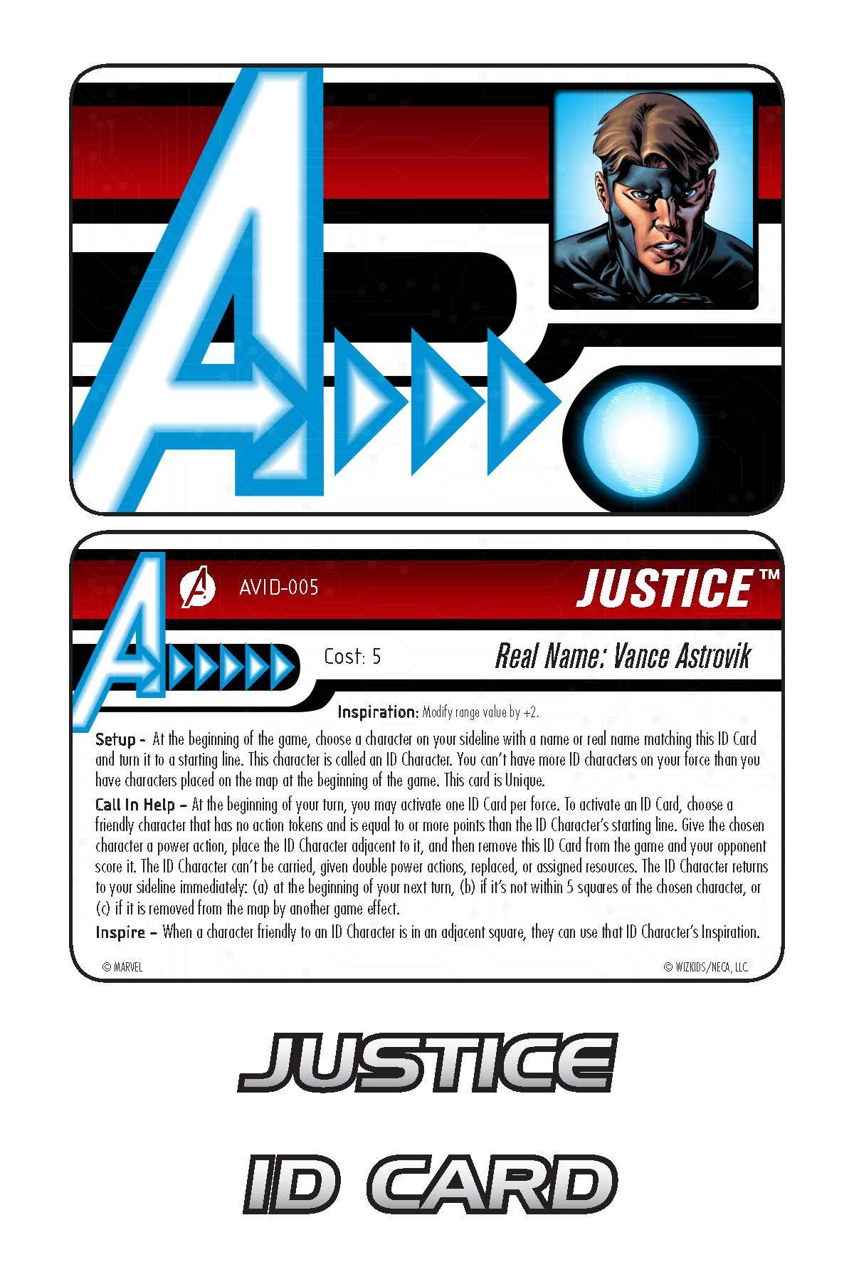 Marvel HeroClix: Avengers ID Card- Justice
