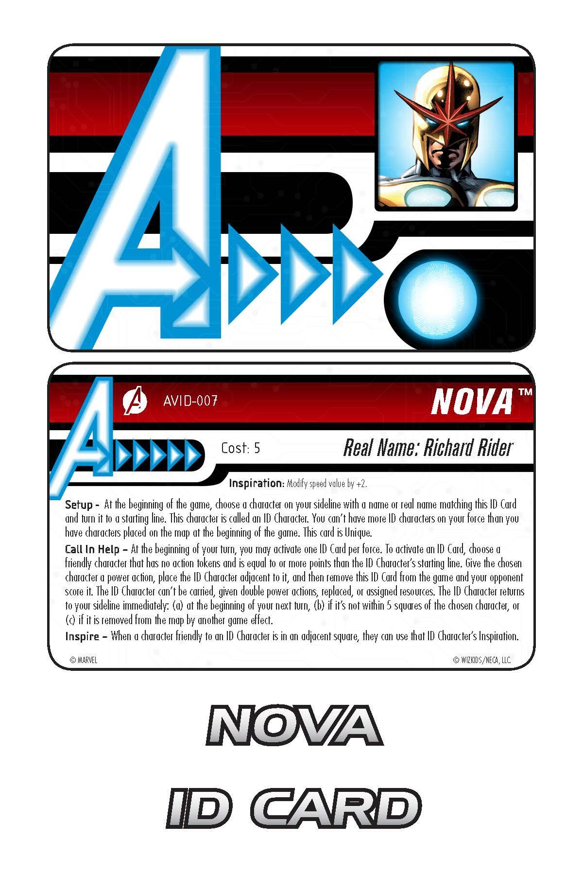 Marvel HeroClix: Avengers ID Card- Nova
