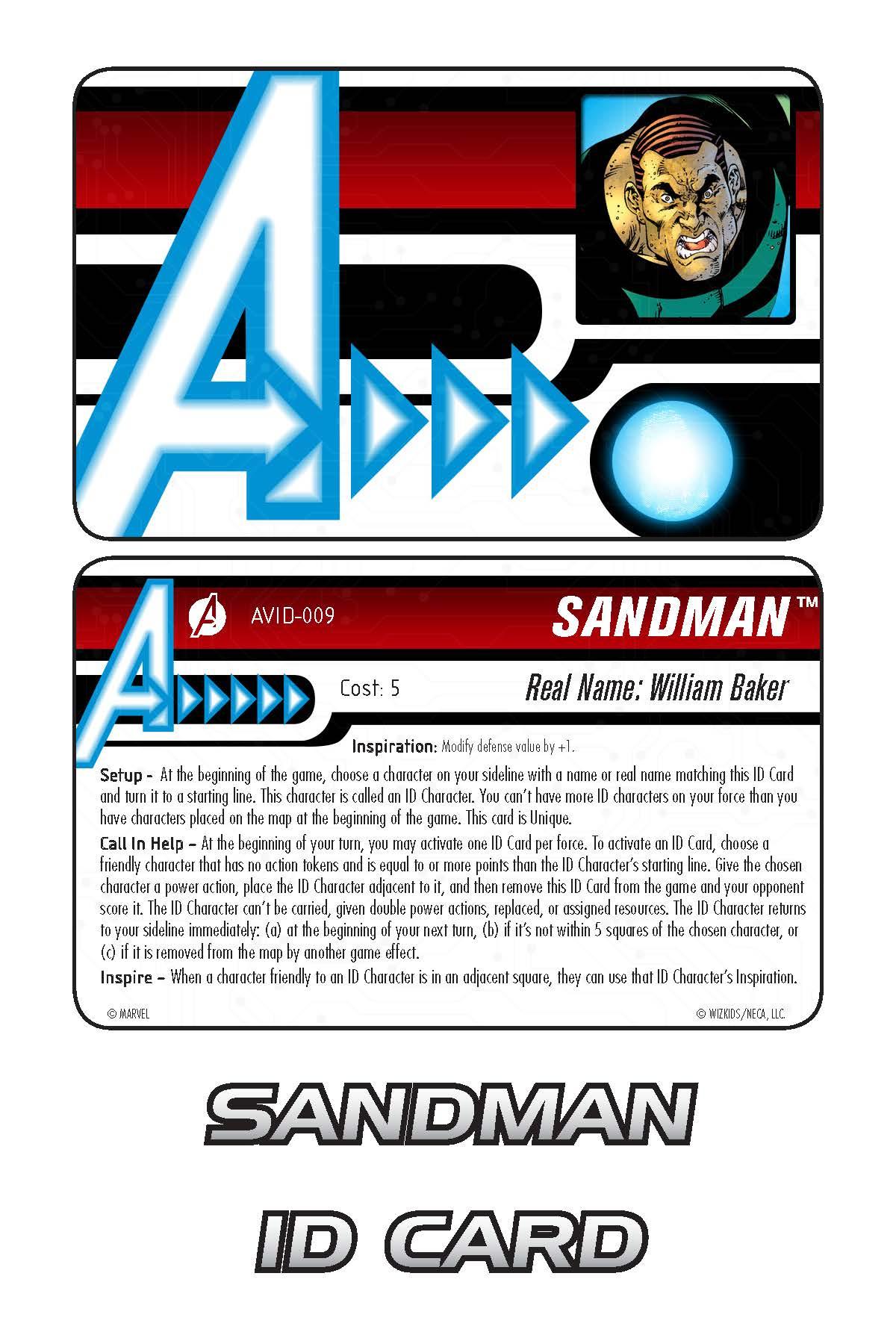 Marvel HeroClix: Avengers ID Card- Sandman