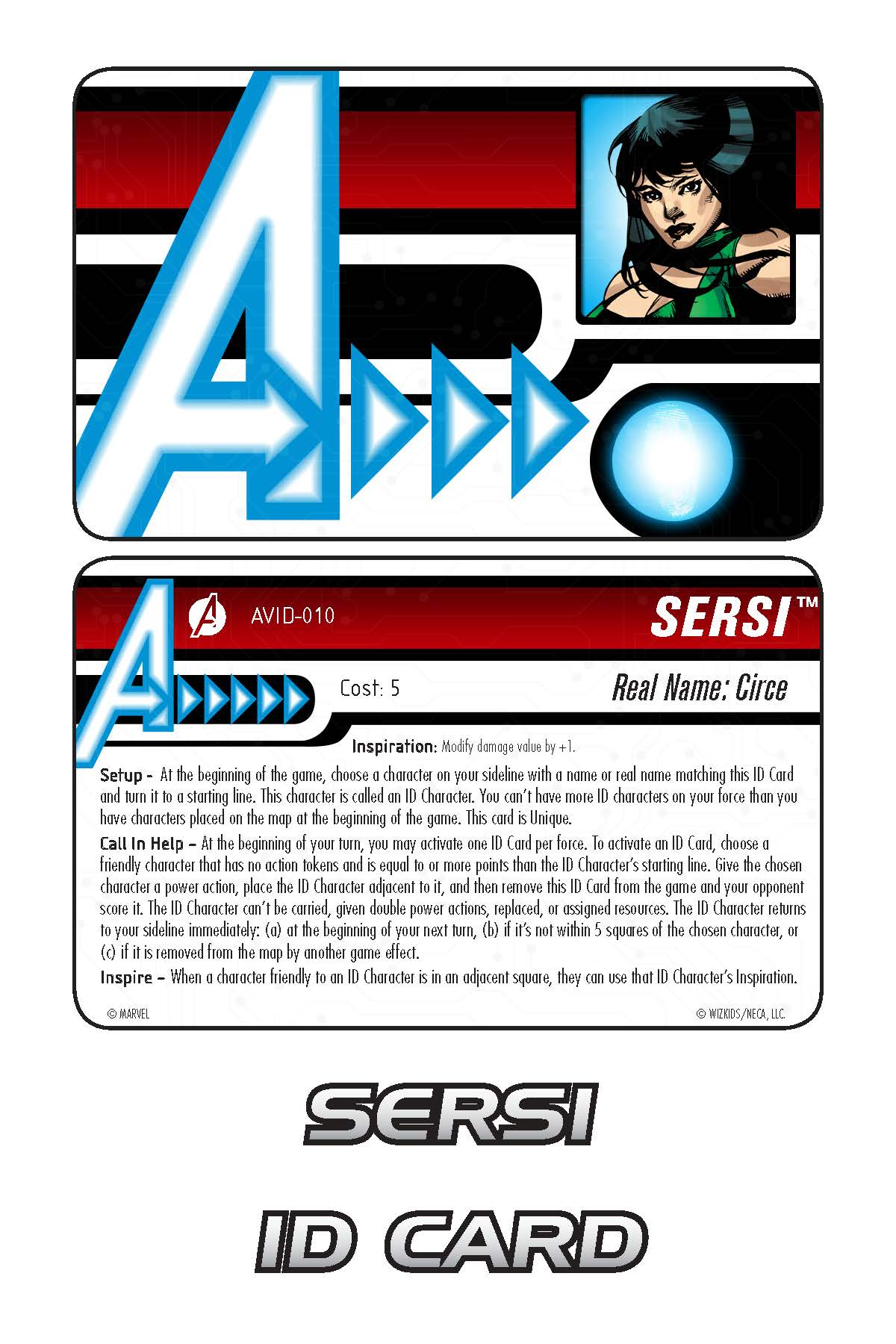 Marvel HeroClix: Avengers ID Card- Sersi