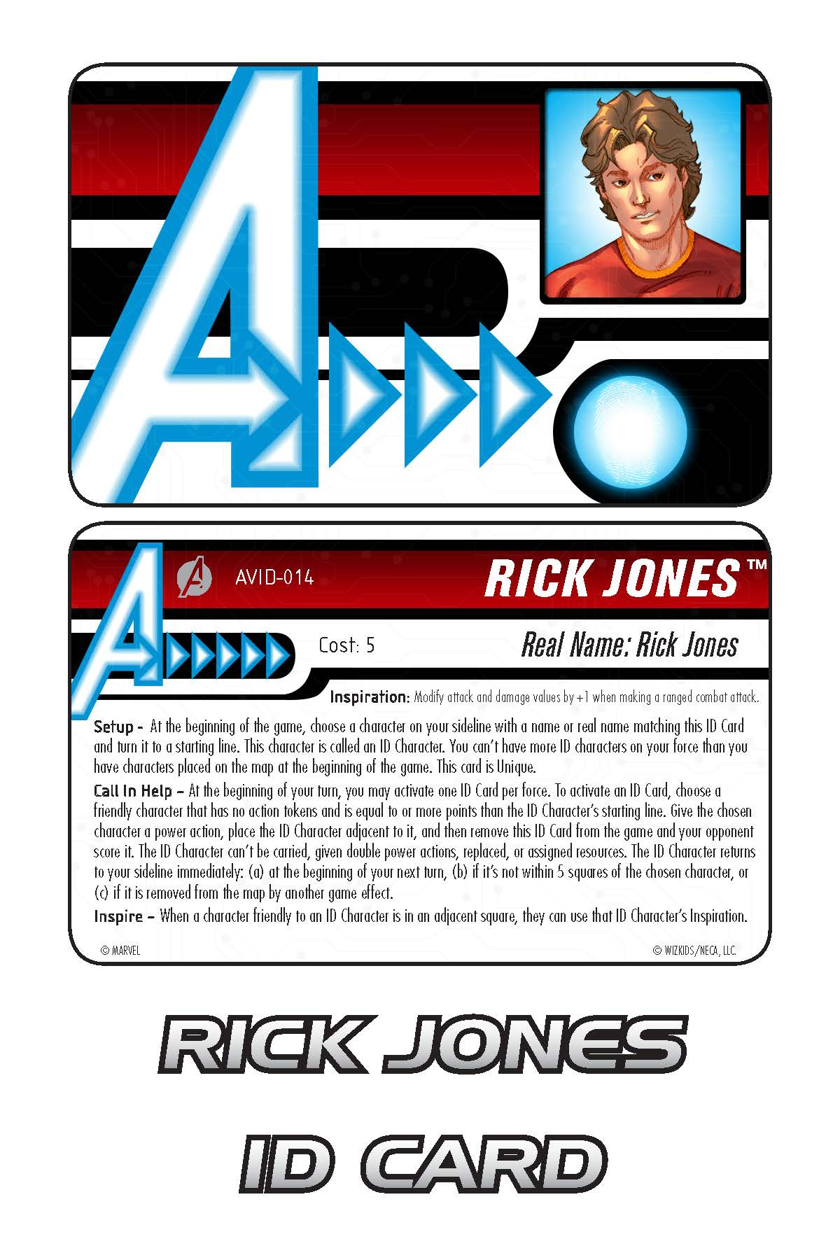 Marvel HeroClix: Avengers ID Card- Rick Jones