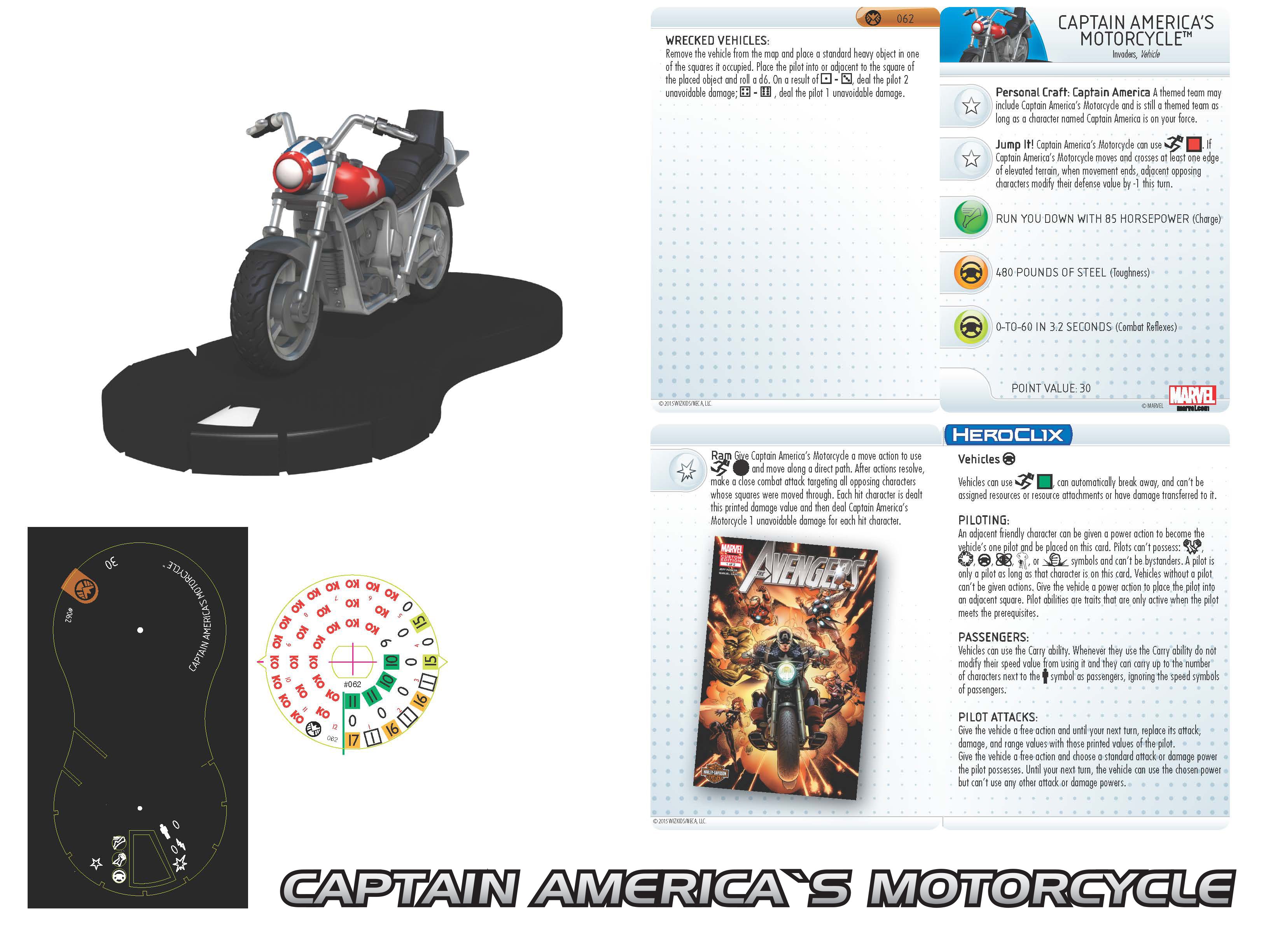 Marvel HeroClix: Nick Fury, Agent of S.H.I.E.L.D.- Captain America's Motorcycle