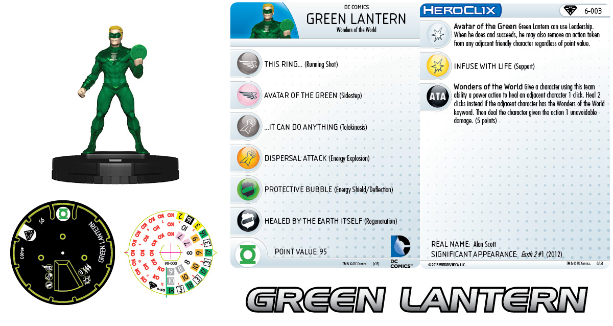 DC HeroClix: Superman/Wonder Woman- Earth 2 Fast Forces Pack- Green Lantern