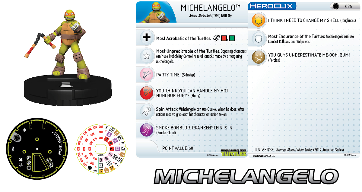 Teenage Mutant Ninja Turtles HeroClix Team Building - Michelangelo