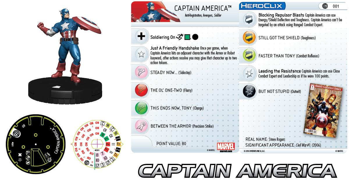 Marvel HeroClix: Civil War Storyline OP - Captain America 001