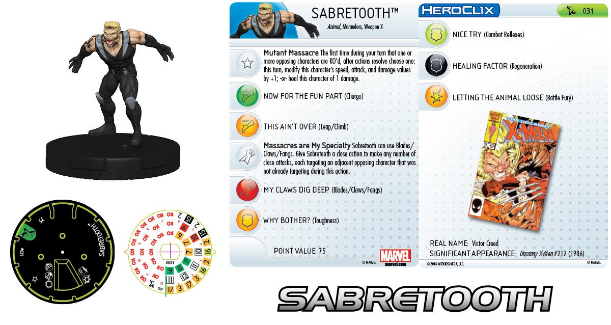 Marvel HeroClix: Uncanny X-Men Marauders - Sabretooth