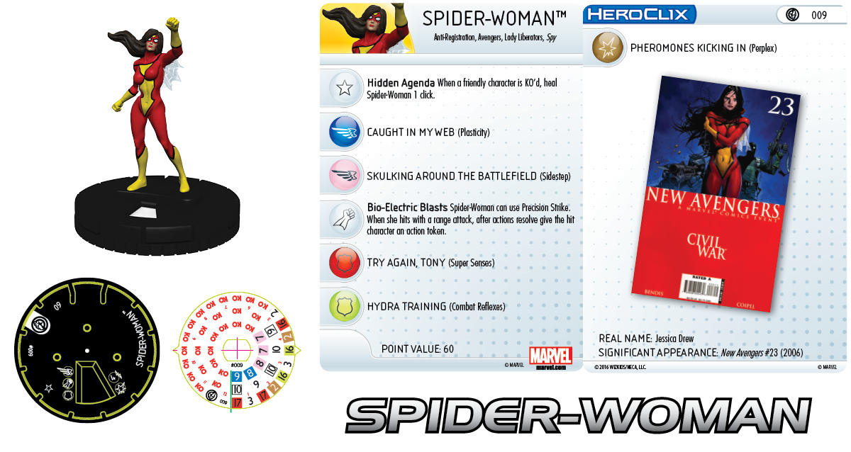 Marvel HeroClix: Civil War Storyline Organized Play - New Avengers Team - Spider-Woman
