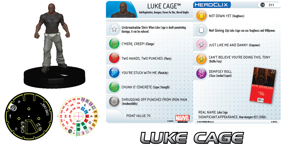 Marvel HeroClix: Civil War Storyline Organized Play- New Avengers Team - Luke Cage