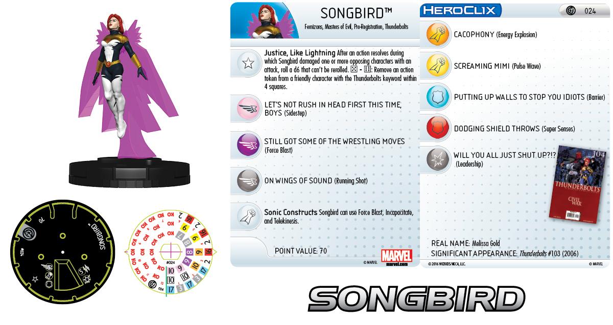 Marvel HeroClix: Civil War Storyline OP - Thunderbolts Team - Songbird