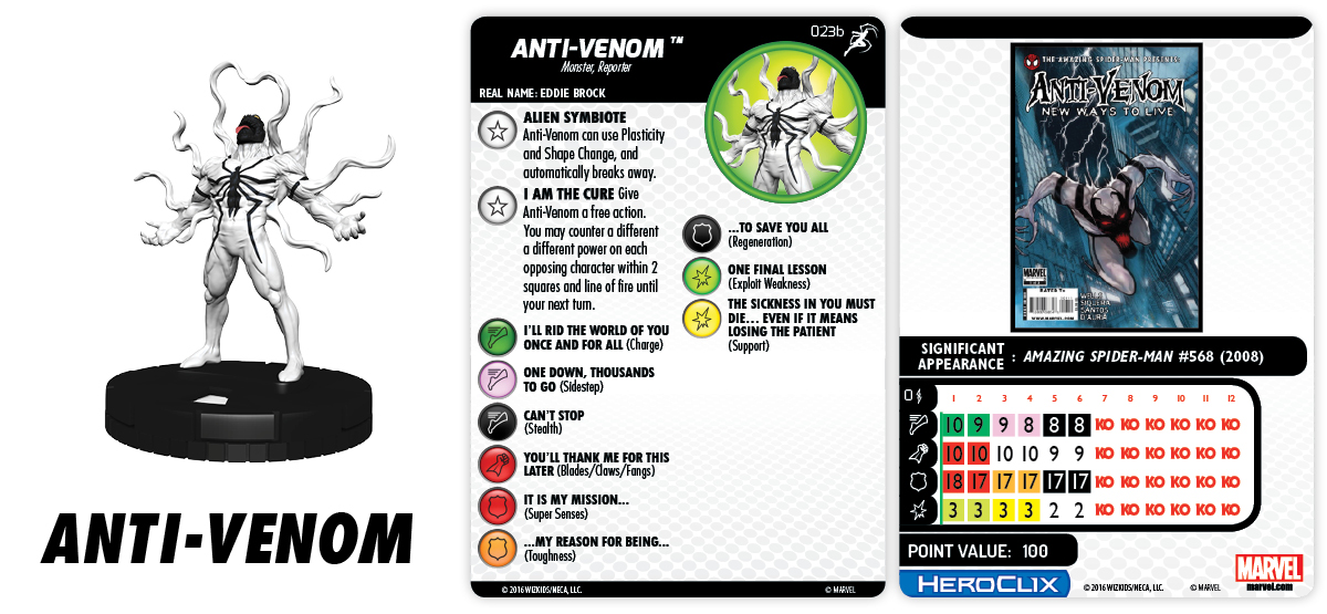 Heroclix Superior Foes of Spider-Man set Anti-Venom #023b Prime figure w//card!