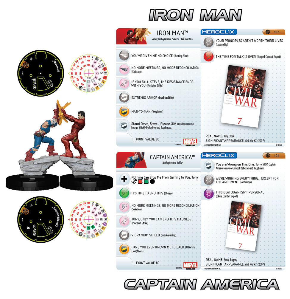 Marvel HeroClix: Civil War Storyline OP - Grand Prizes Captain America & Iron Man